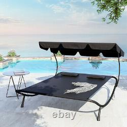 2-3 Seat Swing Hammock Bed Garden Bench Patio Furniture with Canopy Pillow Wheels