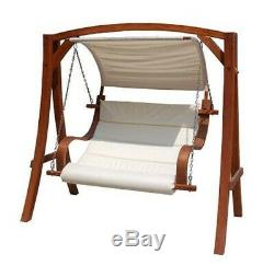 2-3 Seater Larch Wooden Garden Outdoor Swing Seat Cream Canopy 1.9M NEW