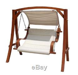 2-3 Seater Larch Wooden Garden Outdoor Swing Seat Hammock Cream Canopy 1.9M