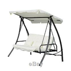 2-In-1 Convertible Swing Chair, 200Lx125wx170h Cm, Steel Frame-Cream Garden Seat
