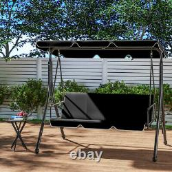 2 In 1 Hammock Garden Swing Chair 3 Seater Canopy Seat & Bed Patio Bench Lounger