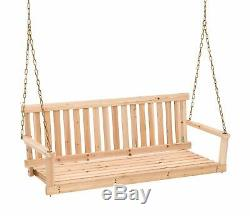 2 Person Front Porch Swing 4' Outdoor Garden Hanging Seat Swing Seat with Chains