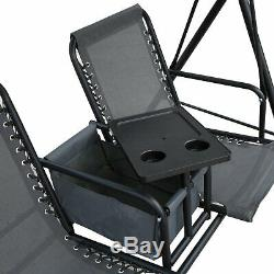 2 Seat Swing Garden Chair With Middle Storage Cup Holder Table -Grey/Black