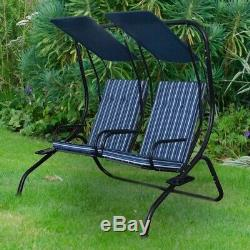 2 Seater Garden Metal Swing Seat Patio Swinging Chair with Canopy