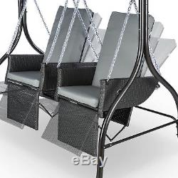 2 Seater Garden Swing Seat Terrace Patio Home Canopy Polyester Outdoor Grey