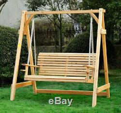 2 Seater Larch Wood Wooden Garden Swing Chair Seat Hammock Bench Lounger Outdoor