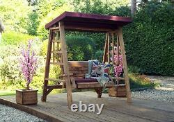2 Seater Person Garden Swing Seat Bench Wooden Swinging Hammock Canopy Assembled