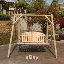 2 Seater Swing Chair Seat Wooden Hammock Bench Garden Outdoor Lounger Bed NEW