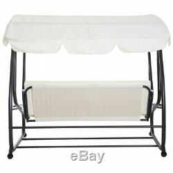 2 in 1 Garden Swing Bed Hammock Chair 3 Seat Rain Cover Outdoor Patio Furniture