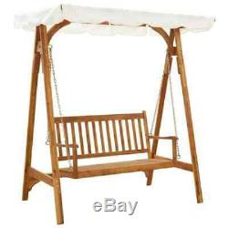 2Seater Swing Hammock Wooden Garden Patio Bench With Canopy Porch Swing Chair Seat