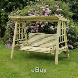 3 Seat Garden Swing Chair British Made Hand Crafted Pressure Treated Sturdy