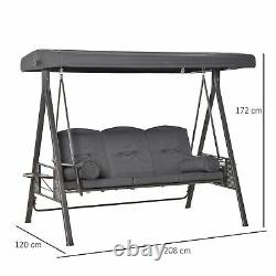 3 Seat Garden Swing Chair Steel Swing Bench with Cushions Cup Trays