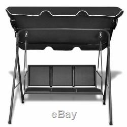 3 Seat Swing Hammock Bed Garden Bench with Canipy Outdoor Patio Seat Black New