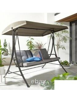 3 Seater Garden Swing Chair Chaise Lounge Padded Seat Sun Lounger-Grey Cushion