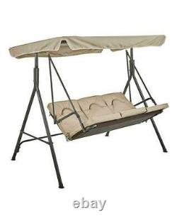 3 Seater Garden Swing Chair Chaise Lounge Padded Seat Sun Lounger-Sand Cushion