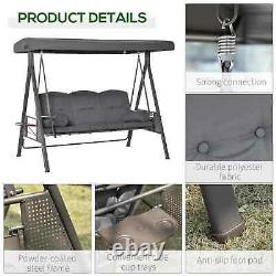 3 Seater Garden Swing Chair Seat Hammock Steel with Cushions and Cup Holders