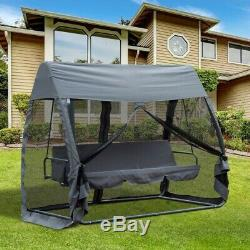 3 Seater Hammock Lounger Swing Chair Garden Cushioned Bench Seats Canopy Cover