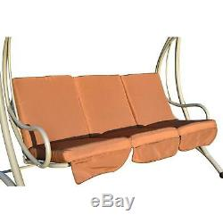 3-Seater Metal Swing Chair Bench-Coffee Garden Outdoor Sun Lounger Seat Seater