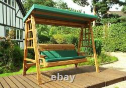 3 Seater Person Garden Swing Seat Bench Wooden Swinging Hammock Bench Assembled