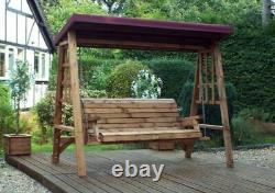 3 Seater Person Garden Swing Seat Bench Wooden Swinging Hammock Canopy Assembled