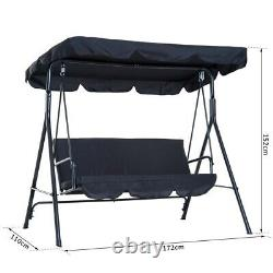 3 Seater Swing Padded Seat Black Garden Outdoor Chair Canopy Bench Patio NEW