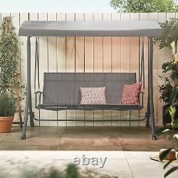 3 Seater Swing Seat With Canopy Outdoor Garden Patio Swinging Chair