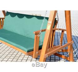 3 Seater Wooden Garden Swing Chair Seat Hammock Bench Furniture Lounger Bed New