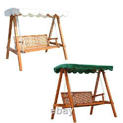 3 Seater Wooden Wood Garden Swing Chair Seat Hammock Bench Furniture Lounger Bed