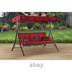 3-person Swing Seat Bench For Outdoor Patio Deck Yard With Canopy