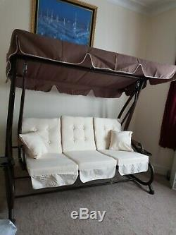 3 seat garden Swing brown and cream