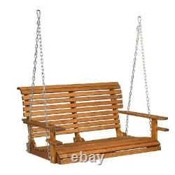 4 Foot Wood Porch Swing Garden Patio Hanging Bench Deck Seat Cup Holder