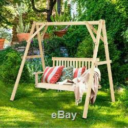 4 Porch Swing Patio Outdoor Hanging Seat Garden Chains Bench Wooden Furniture