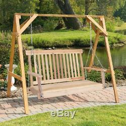 4Ft Wood Hanging Porch Swing Bench Patio Garden Deck Seat Chains Ceiling Mount