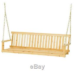5 Ft Porch Swing Bench Patio Garden Yard Outdoor Tree Hanging Seat Chains Wood