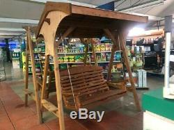 AFK Roofed Apex Wooden Swing Seat Garden Seat 2 Seater Bench Beech Stain FSC