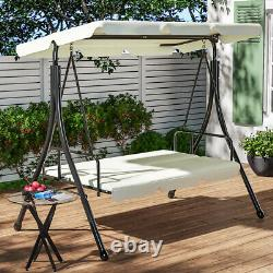 Adjustable Seat Outdoor Swing Hammock Chair Lounger Bed Garden Patio with Canopy