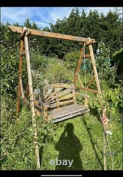 Adult garden Vintage Style Shabby Look Wooden swing Seat And Frame