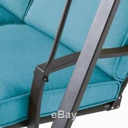 Bench Swing Outdoor Patio Porch Teal 3 Seat Cushions Steel Frame Canopy Garden