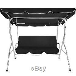 Black 3 Seater Outdoor Garden Porch Bench Swing Seat with Cushion & UV Sun Canopy