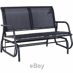 Black Double Swing Bench Outdoor Garden Patio Chair Free Standing Rocking Seat