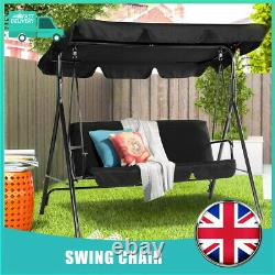 Black Home Garden Patio 3 Seater Swing Chair Hammock Canopy Bench Seat Outdoor