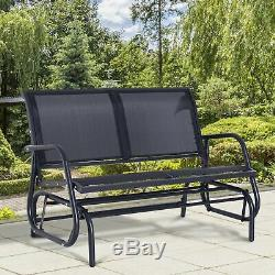 Black Outdoor Steel Swing With Armrest Mesh Seat Seater Garden Patio Frame