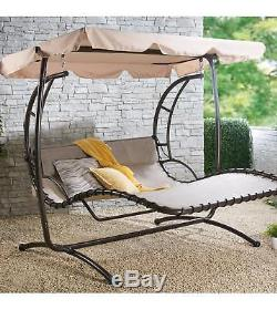 Brand New 2 Seater Deluxe Swing Seat With Canopy Garden Outdoor Patio Balcony