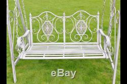 COLLECTION ONLY White Ornate Metal Garden Swing Bench Love Seat 150cm Wide