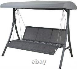 Canopy 3 Seater Swing Chair Outdoor Metal Bench Garden Hammock Relaxed Seats New