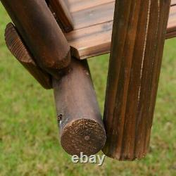 Classic Garden Swing Outdoor Patio Wooden Double Seat Slatted Chair Table Brown