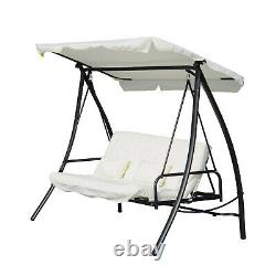 Convertible Garden Swing Adjustable Canopy 3 Person Seat Bench Double Bed White