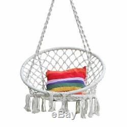 Cotton Rope Hammock Chair Swing Hanging Garden Knitted Seat Patio Outdoor Porch