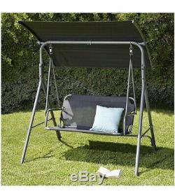 Cuba 2 Seater Black Garden Patio Swing Chair Bench Bed Seat Canopy