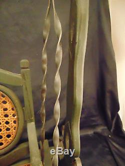 Doll porch garden swing antique hand crafted rattan seat wood metal art chair